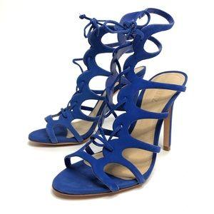 NEW SCHUTZ Laurine Gladiator Blue Suede Heels